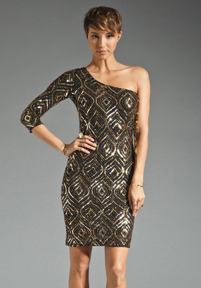 Alice + Olivia Kristiana One Sleeve Sequin Dress in Gold/Silver