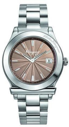Salvatore Ferragamo 1898 Stainless Bracelet 3-Hand Watch, Mink Dial $995 thestylecure.com
