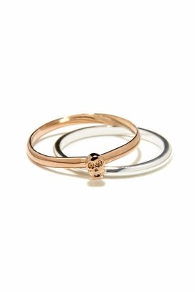 Bing Bang Tiny Skull Ring in Rose Gold/Silver
