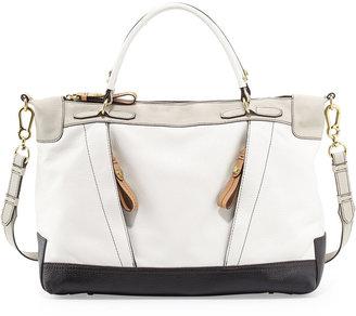 Oryany Carolina Colorblock Leather Satchel, White Multi