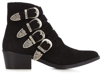 Toga Buckle Suede Ankle Boots - Black