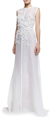 Elie Saab Sleeveless Embroidered-Lace Gown