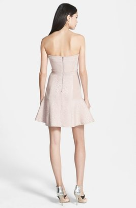 Rebecca Taylor Strapless Cloqué Fit & Flare Dress