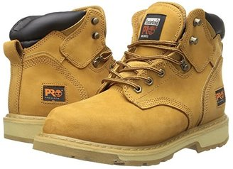 Timberland 6 Pit Boss Soft Toe (Wheat Nubuck Leather) Men's Work Lace-up Boots