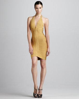 Herve Leger Front-Zip Halter Bandage Dress