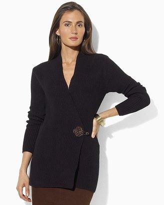 Lauren Ralph Lauren Antonin Long Sleeve Cardigan with Faux Leather Toggle