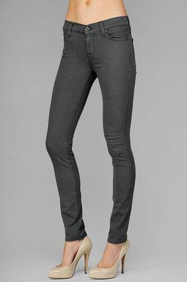 7 For All Mankind The Skinny Second Skin Legging Jean In Dark Smoke Grey