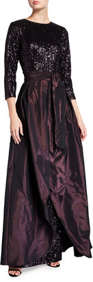 Rickie Freeman For Teri Jon 3/4-Sleeve Sequin Column Gown with Taffeta Overskirt