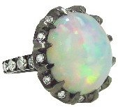 Arunashi Oval Opal Claw Ring with Diamons