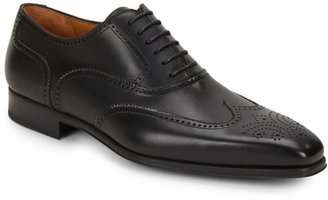 Magnanni Burnished Calfskin Leather Wingtip Shoes