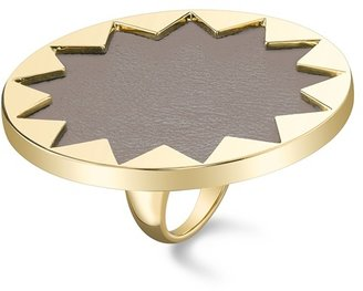 House Of Harlow Sunburst Cocktail Ring with Khaki Leather - 14 Karat Yellow Gold Plated