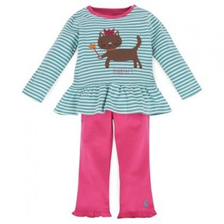 Joules Green Stripe Tee with Pink Leggings