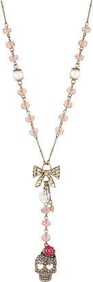 Betsey Johnson Skull Rosary Y Necklace