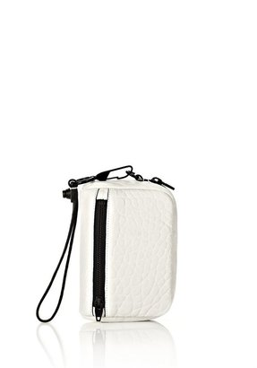 Alexander Wang Fumo Large Wristlet In Pebbled White Matte Black