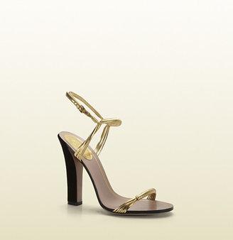 Gucci Anita Gold Metallic Leather High-Heel Sandal
