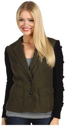 Kensie Tweed Sweater Sleeve Jacket (Olive Combo) - Apparel