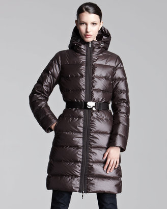 Moncler Mid-Length Lacquered Puffer Coat