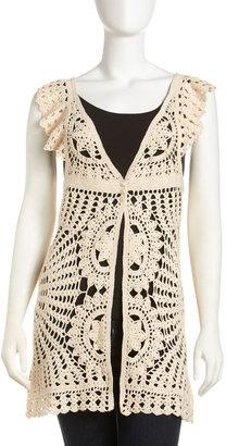 Romeo & Juliet Couture Crochet Tunic, Beige