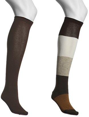 Anne Klein NY Wide Stripe Knee Sock