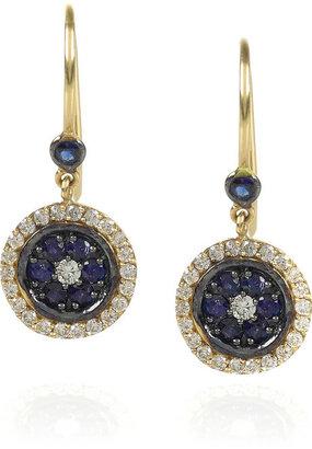 Vanessa Kandiyoti 18-karat gold diamond and sapphire evil eye earrings