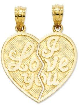 Macy's 14k Gold Charm, I Love You Heart Break-Apart Reversible Charm