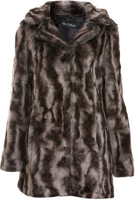 Miss Selfridge Grey vintage faux fur coat