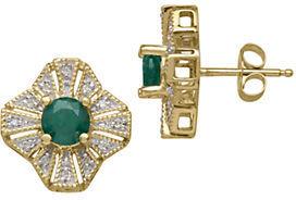 Lord & Taylor 14Kt. Yellow Gold, Emerald & Diamond Earrings