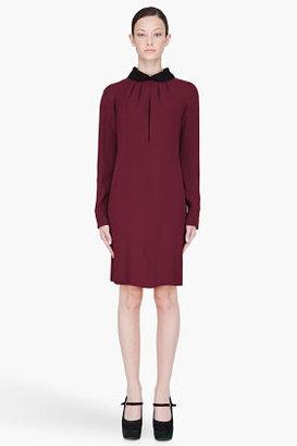 Marni Burgundy Draped Cady Collared Dress