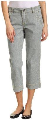Jag Jeans Thea Crop Tiny Stripe Denim (Blue/White) - Apparel