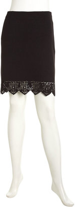 Laundry by Shelli Segal Embroidered Jacquard Skirt, Black