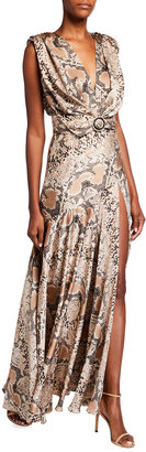 Bronx and Banco Romi Python Printed V-Neck High-Slit Maxi Dress