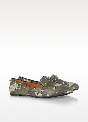 Marc by Marc Jacobs Green Camouflage Studded Loafers