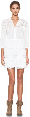 Etoile Isabel Marant Greta Cotton Voile and Lace Dress in Blanc