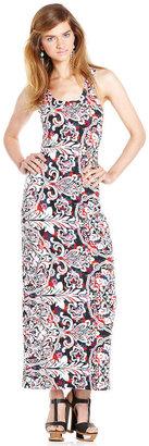Material Girl Juniors Dress, Sleeveless Printed Cutout Maxi