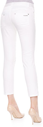 Roberto Cavalli Lace-Front Skinny Jeans, White