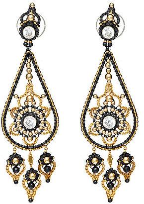 Miguel Ases Oxidized Silver Chandelier Earrings