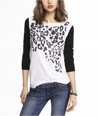 Express Sequin Leopard Crew Neck Sweater