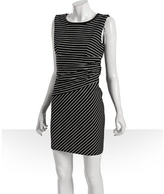 Cynthia Steffe black and white striped jersey 'Taylor' leather trim dress