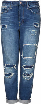Topshop Tall moto hayden rip and repair jeans