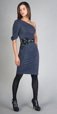 BCBGMAXAZRIA One Shoulder Graphite Dresses