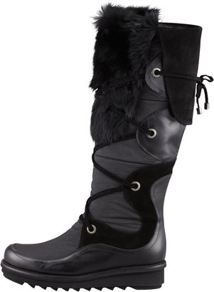 Aquatalia by Marvin K Katch Lace-Up Rabbit Fur-Trim Boot, Black