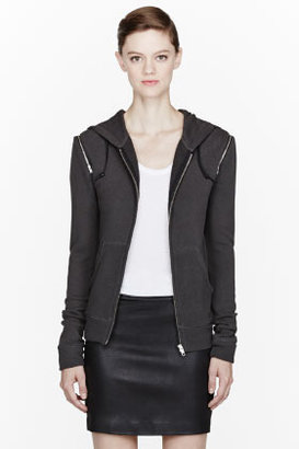 R 13 Deep grey zip-trimmed hoodie
