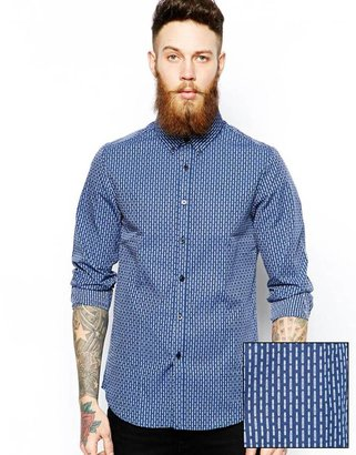 Asos Smart Shirt In Long Sleeve With Dobby Print