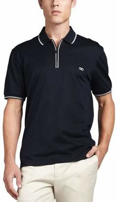 Salvatore Ferragamo Cotton Piqué Zip Polo Shirt with Gancini Chest Embroidery, Navy/White $300 thestylecure.com