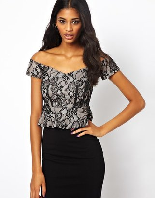 Asos Peplum Top in Bonded Lace