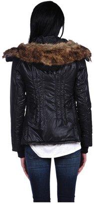 Romeo & Juliet Couture Woven Padding Jacket w/Fur hood