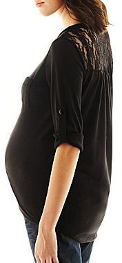 JCPenney Asstd National Brand Maternity Lace-Back Tee