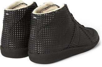 Maison Martin Margiela Studded Rubber And Leather High Top Sneakers