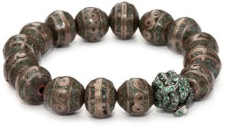 Borgioni Snake Ball Bead, Inlaid Brass and Turquoise-Color Beaded Bracelet