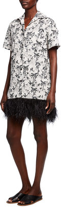 le superbe Imperial Palm-Print Dress with Feather Trim